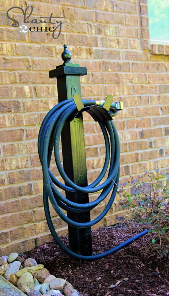 Easy DIY Hose Holder For The Garden