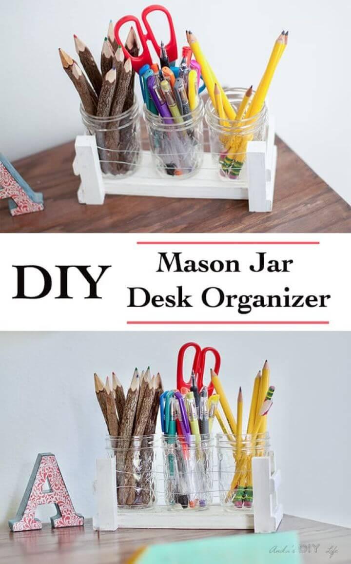 Easy DIY Mason Jar Desk Organizer Using Scrap Wood