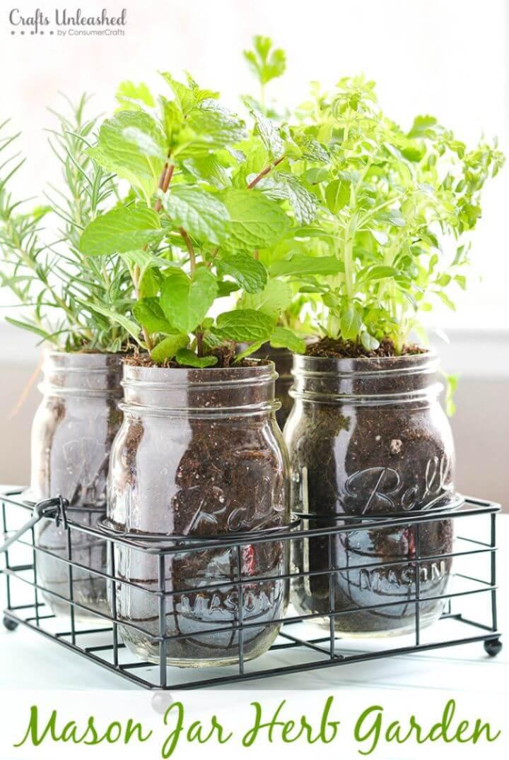 Easy DIY Mason Jar Herb Garden