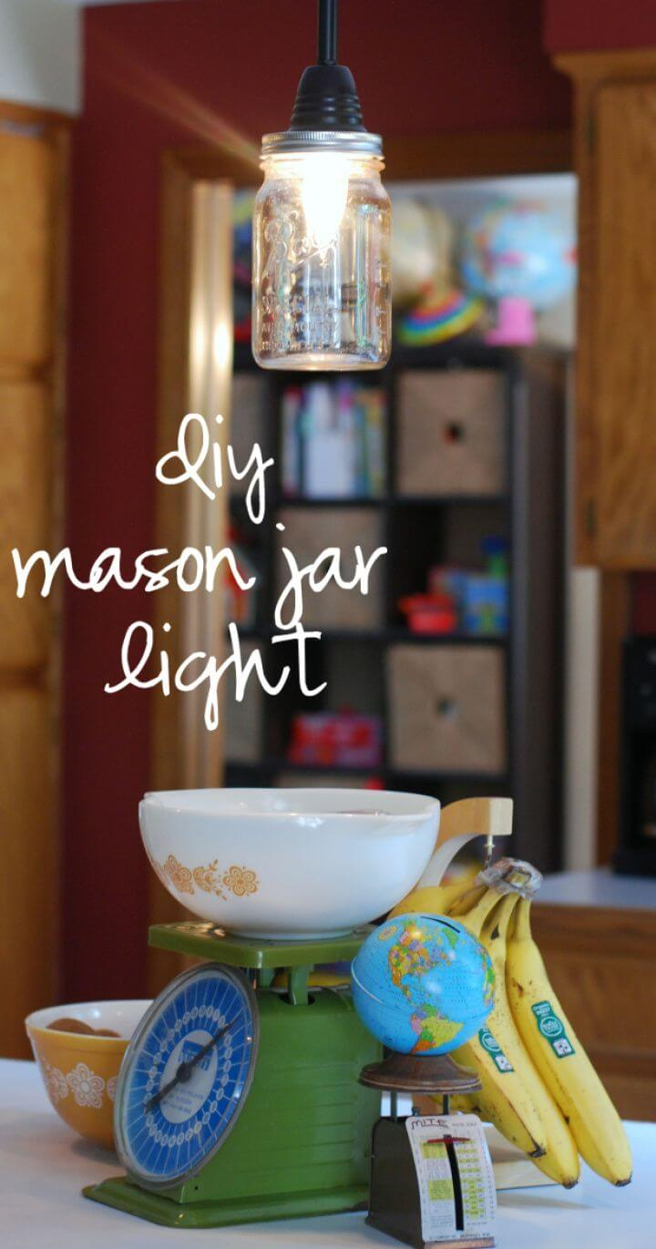Easy DIY Mason Jar Pendant Light
