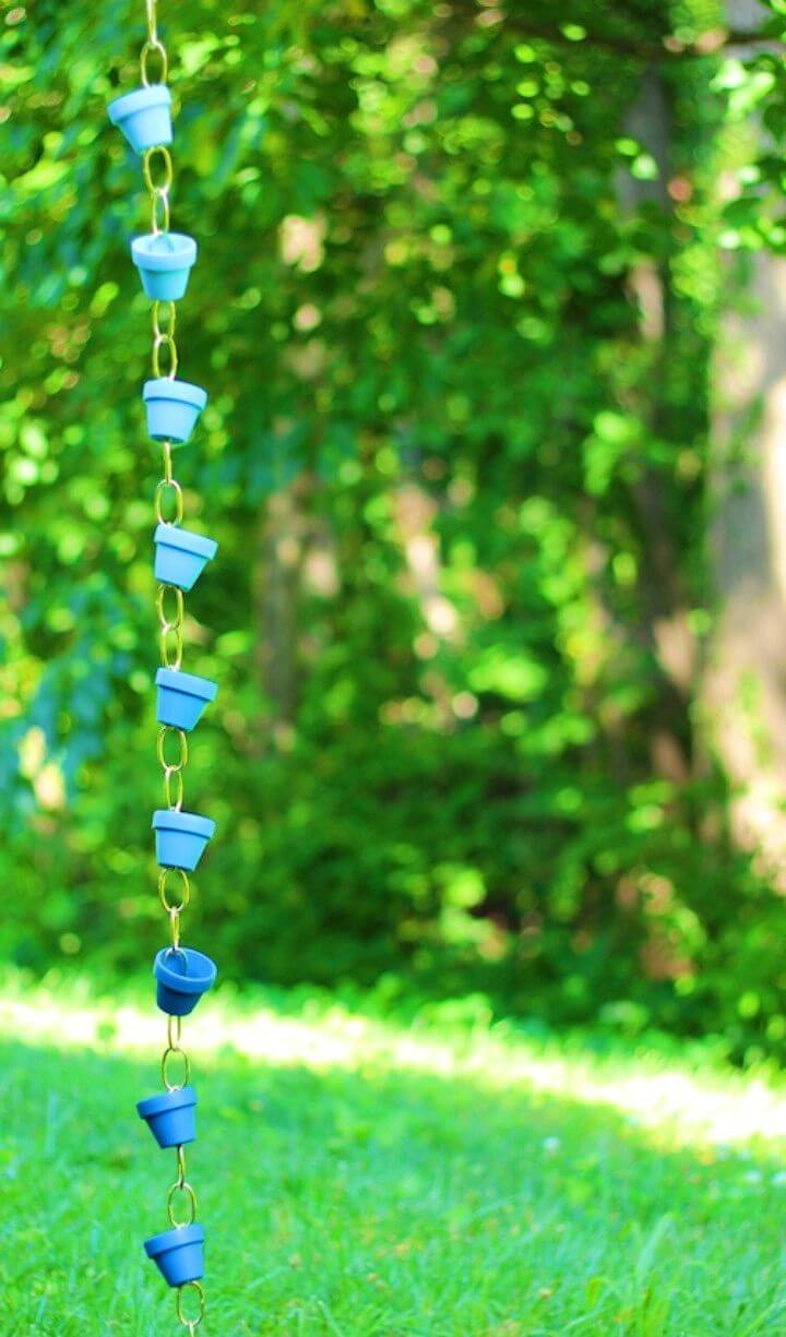 Easy DIY Ombre Rain Chain Terra Cotta Craft