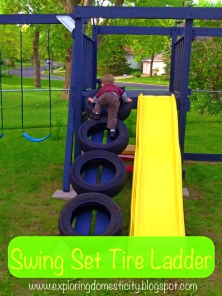 Easy DIY Swing Set Tire Ladder