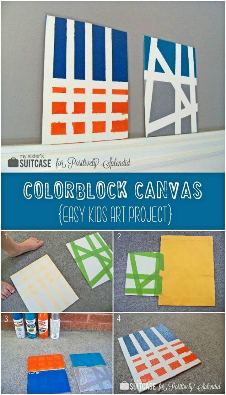 Easy to Make Color Block Canvas, DIY, easy DIY, quick DIY, cheap DIY projects, DIY color blocks, color blocks, DIY color block art, color block technique, DIY canvas, DIY color block canvas, art, artist, wall art.