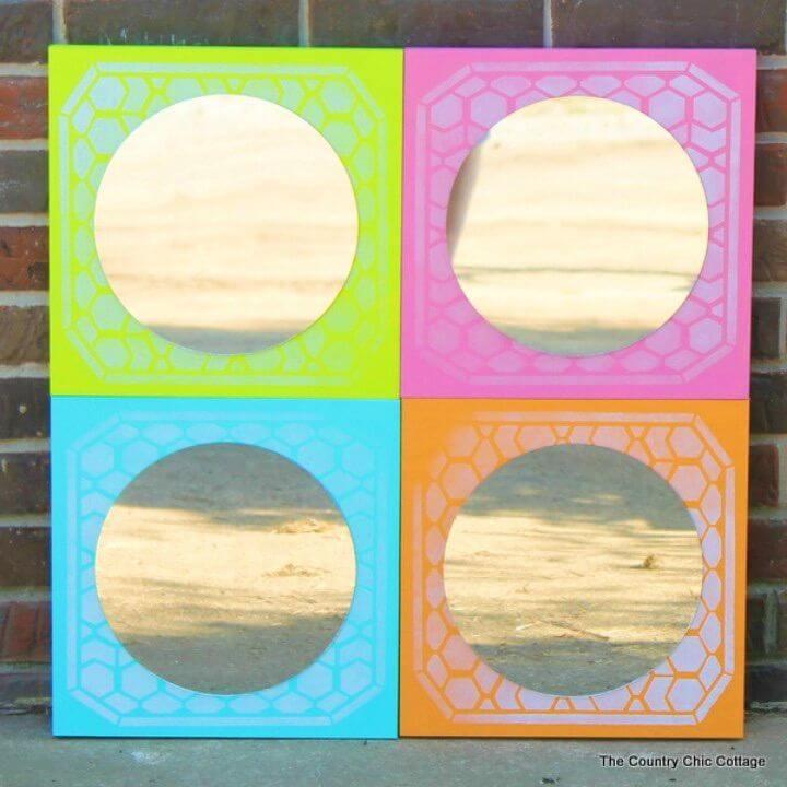 Easy to Make Color Block Mirror, DIY, easy DIY, quick DIY, cheap DIY projects, DIY color blocks, color blocks, DIY color block mirror, DIY mirror, color block technique, DIY Andy Warhol mirror, pop art.
