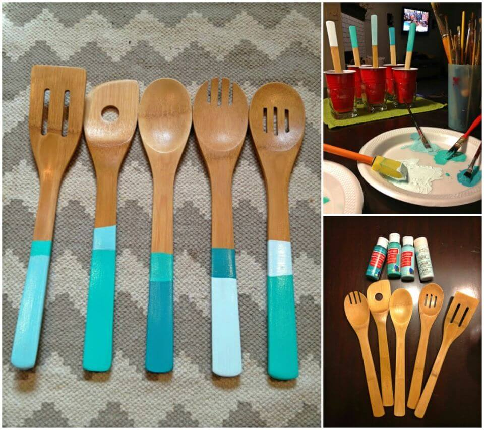 Easy to Make Dipped Color Blocked Spoons