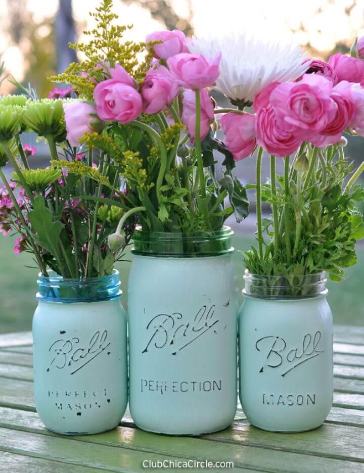 Easy to Make Distressed Mason Jar Vases
