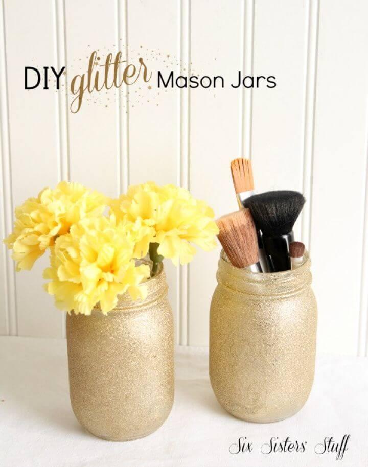 Easy to Make Glitter Mason Jars