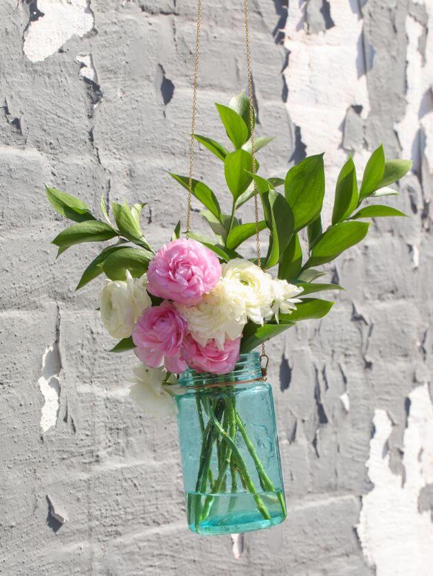 Easy to Make Hanging Wall Mason Jar Vase