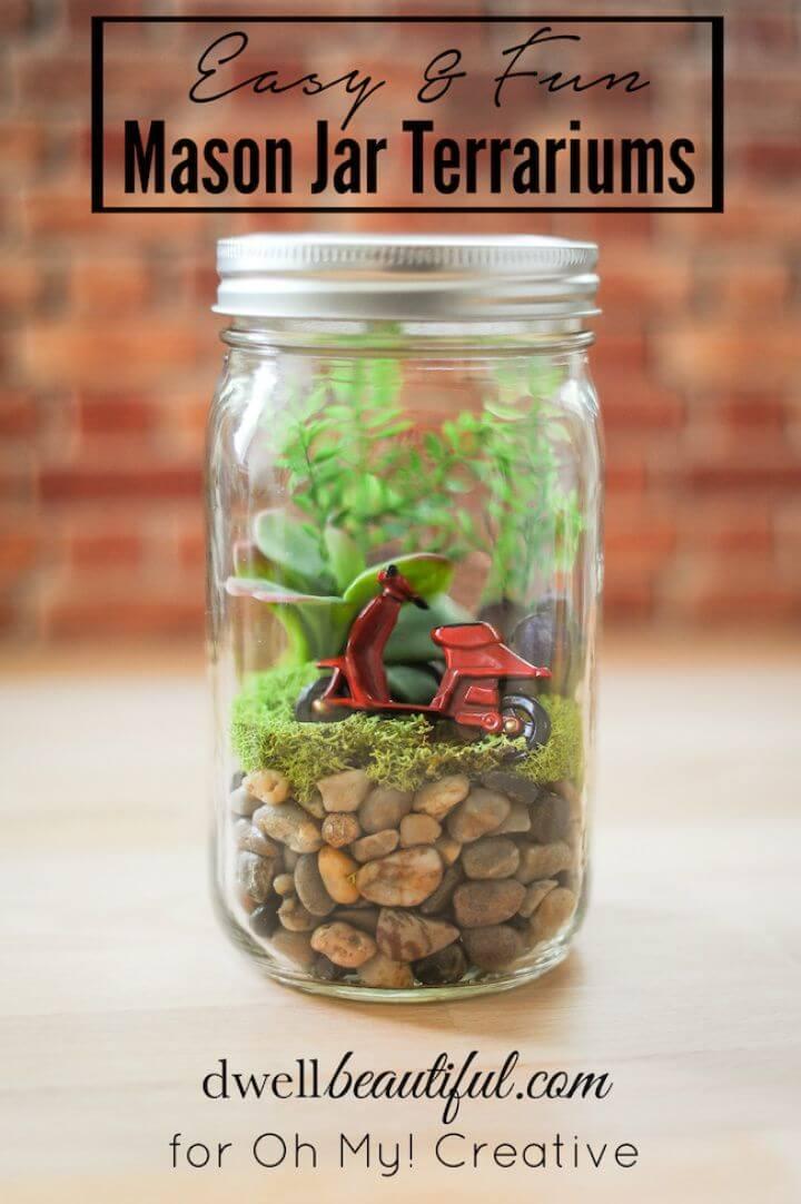 Easy to Make Mason Jar Terrariums Under Hour