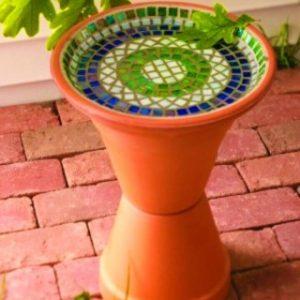 Easy to Make Mosaic Bird Bath