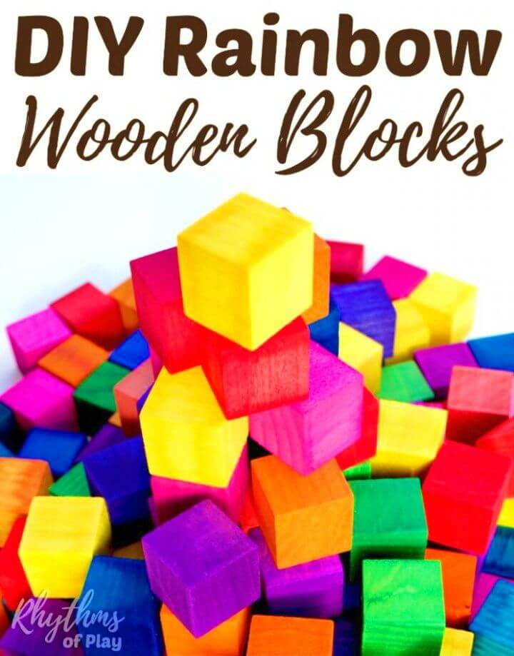 Easy to Make Rainbow Colored Wooden Blocks, DIY, easy DIY, cheap DIY projects, DIY children toys, DIY rainbow colored blocks, DIY wooden blocks, rainbow, DIY toy.