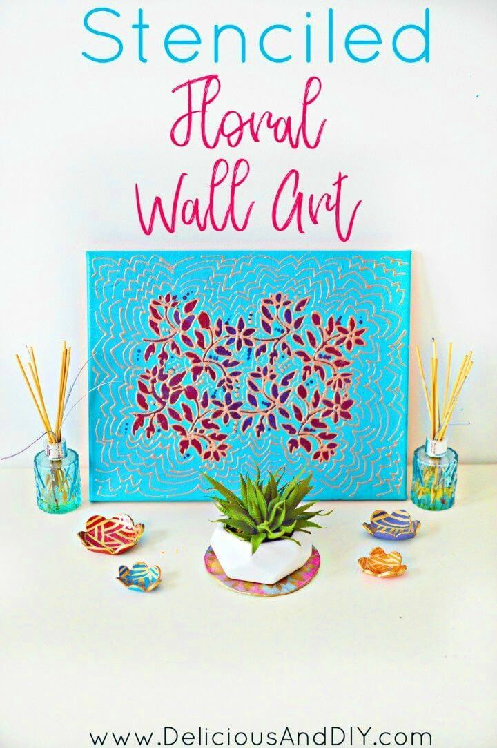 Easy to Make Stenciled Floral Wall Art