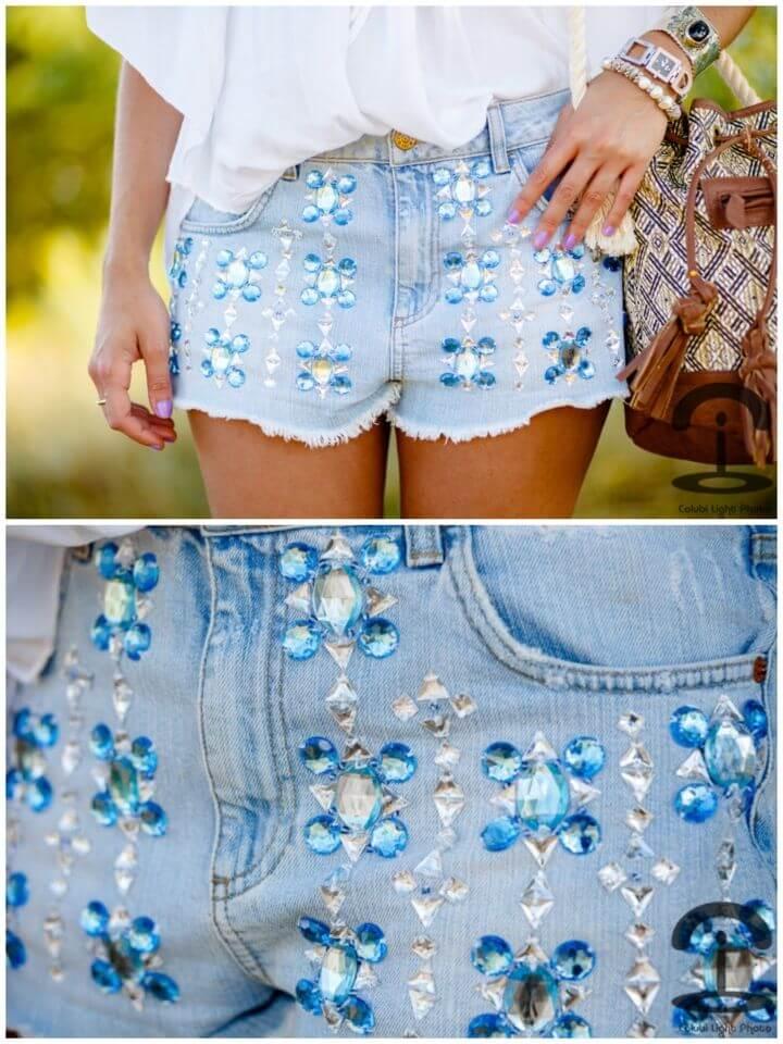 Eye catching DIY Embellished Shorts