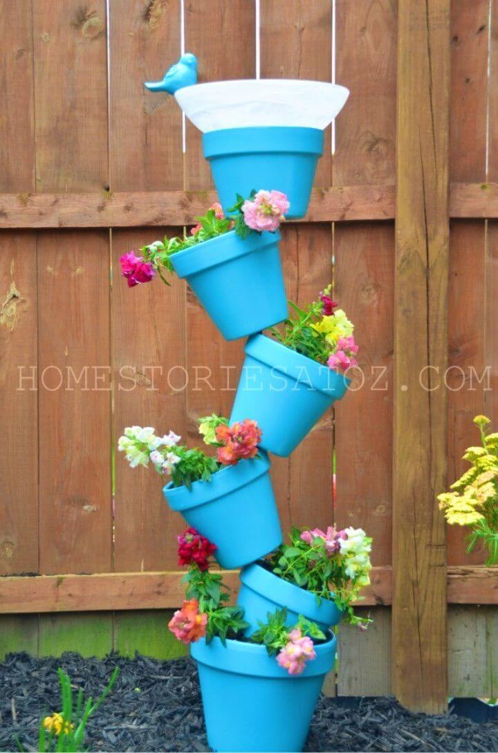 Gorgeous DIY Garden Planter Birds Bath