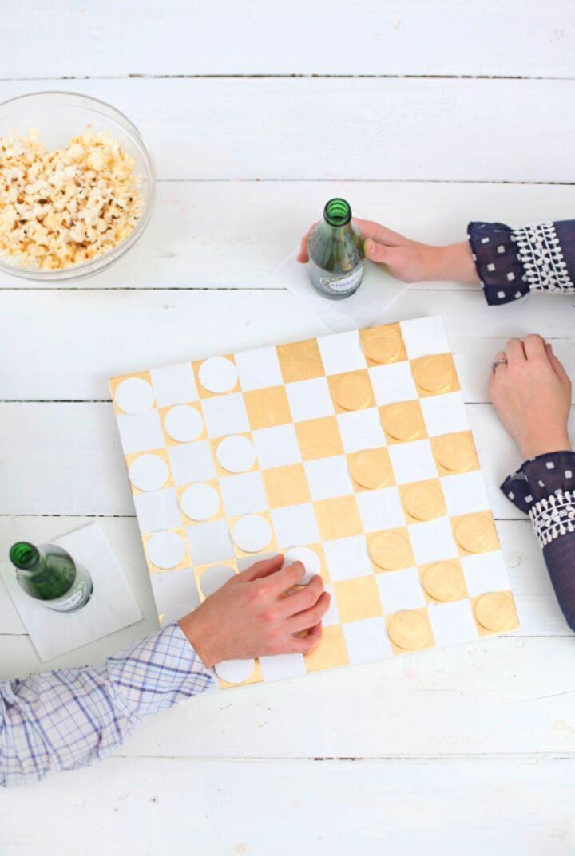 Gorgeous DIY Gold Leaf Checkerboard