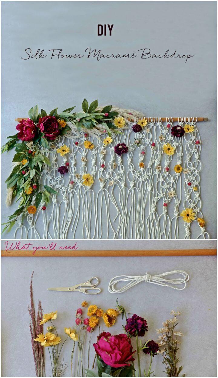Gorgeous DIY Silk Floral Macramé Backdrop