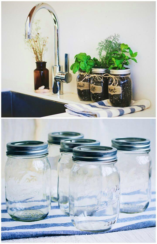 How To Make Mason Jar Fresh Herb Garden