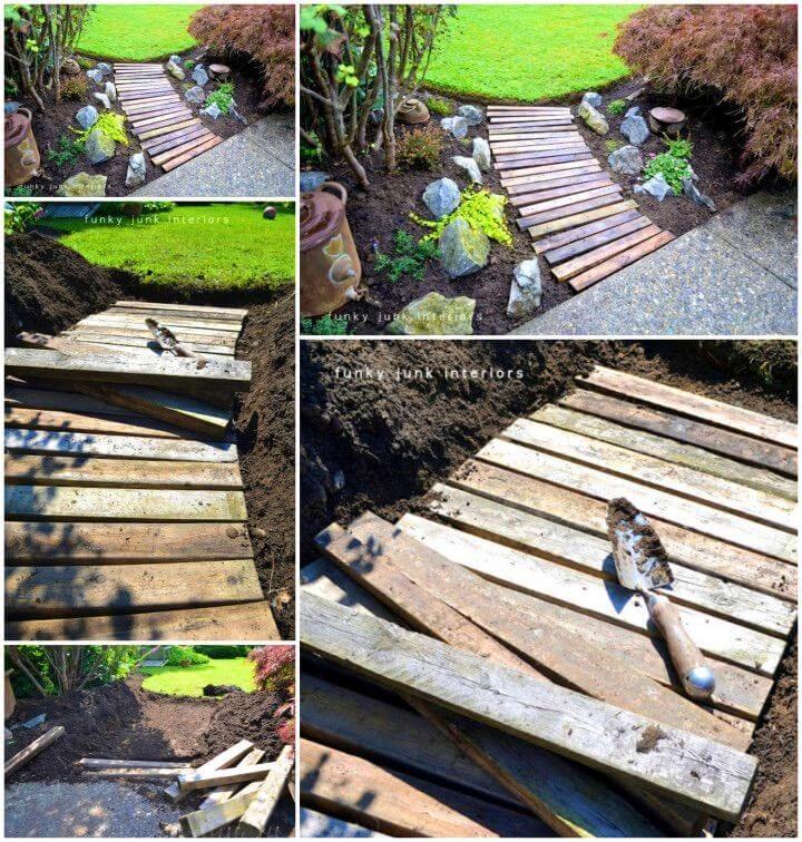 How to Build Pallet Wood Garden Walkway