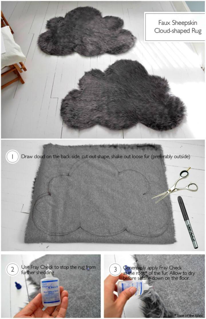How to DIY Faux Sheepskin Cloud Rug