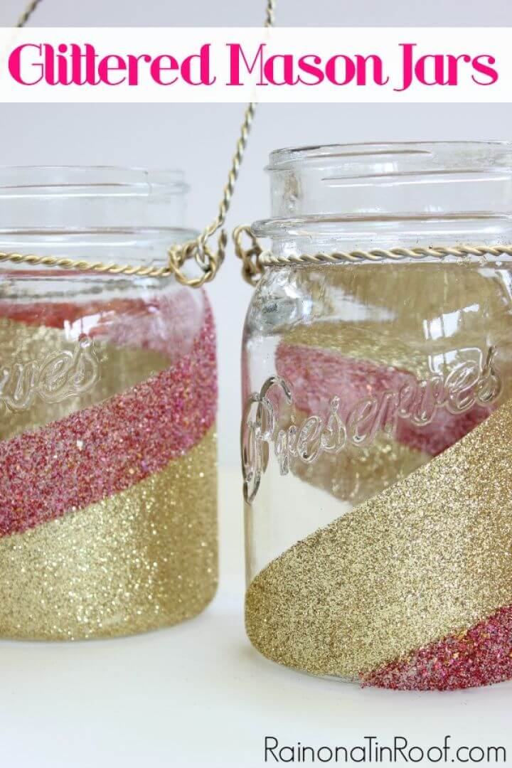 How to DIY Glitter Mason Jars