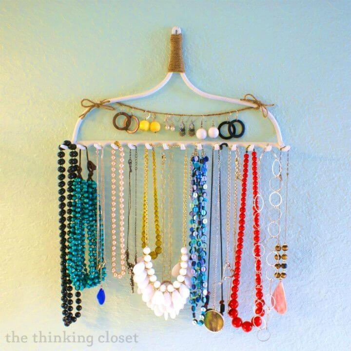 How to DIY Rake Necklace Hanger