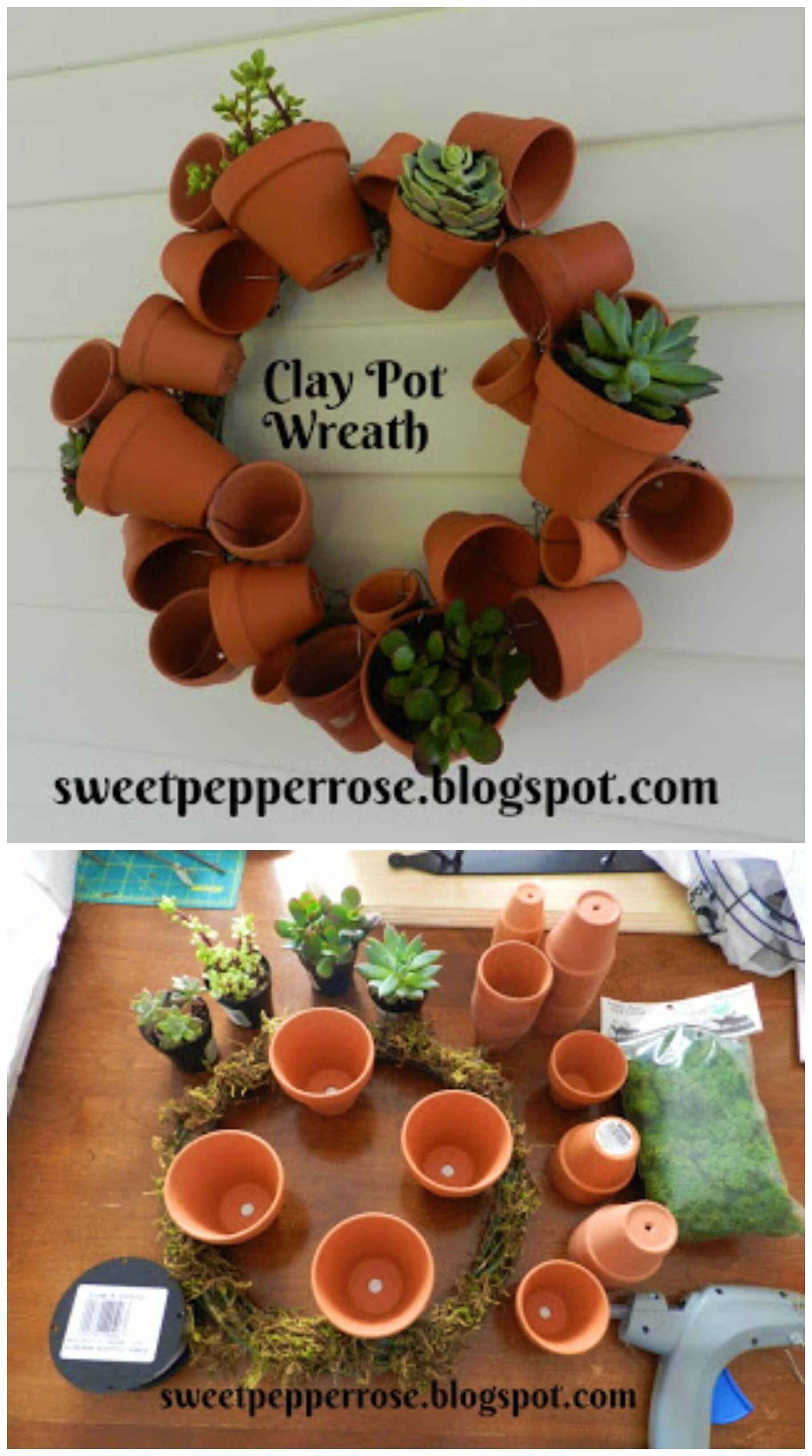 How to Make Clay Pot Wreath