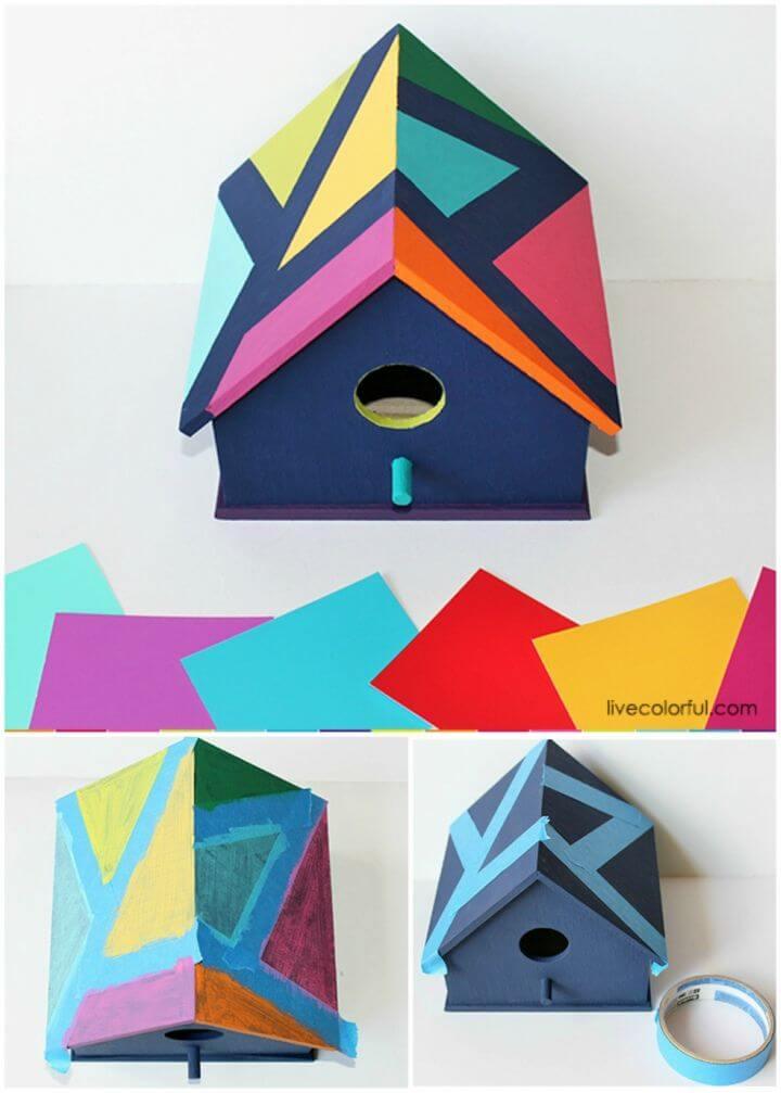 How to Make Color Block Birdhouse, DIY, easy DIY, quick DIY, cheap DIY projects, DIY color blocks, color blocks, DIY color block birdhouse, DIY birdhouse, color block technique, colorful birdhouse.