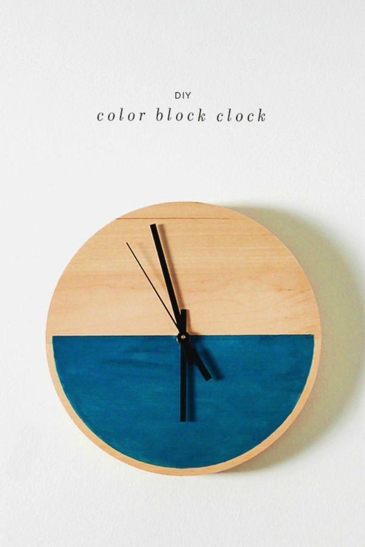 How to Make Color Block Clock, DIY, easy DIY, quick DIY, cheap DIY projects, DIY color blocks, color blocks, DIY color block clock, DIY clock, color adorable clock.