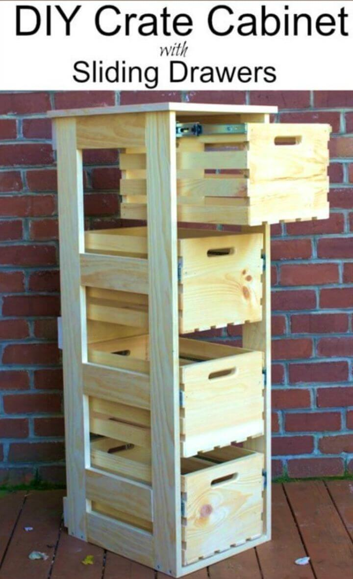 How to Make Crate Cabinet with Sliding Drawers