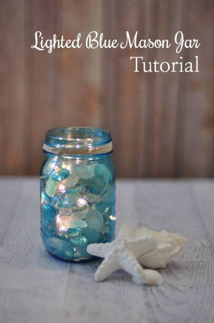 How to Make Lighted Blue Mason Jar
