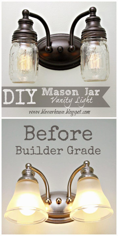 How to Make Mason Jar Vanity Light