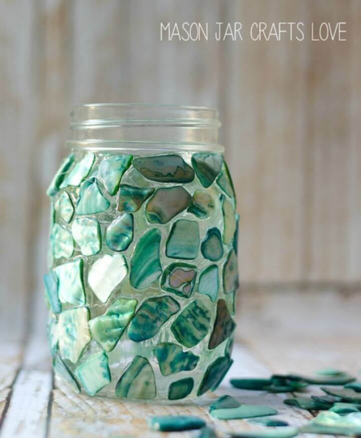 How to Make Mosaic Mason Jar