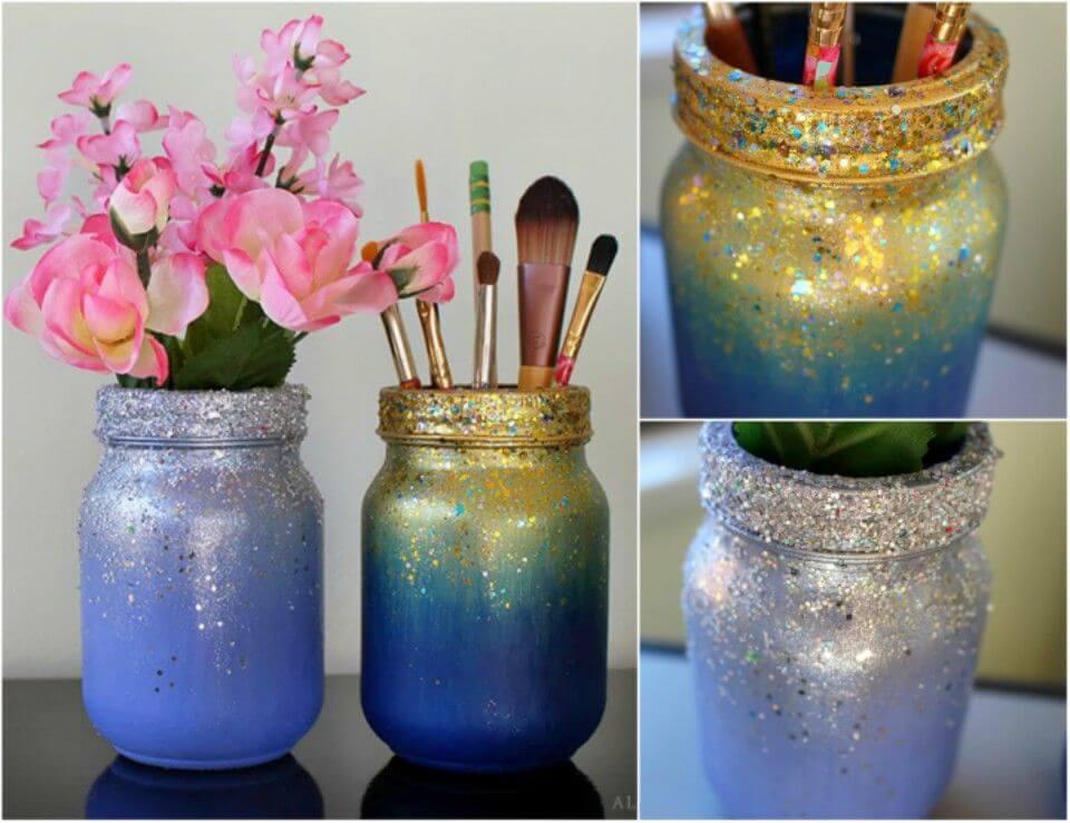 How to Make Ombré Glitter Mason Jars