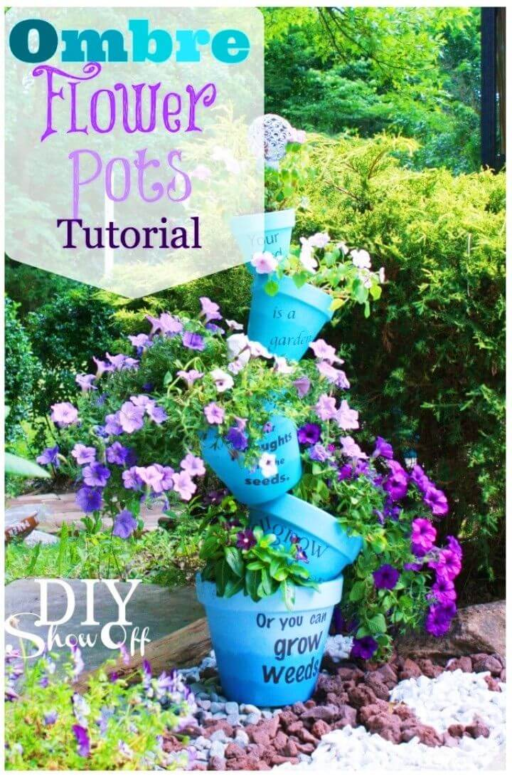 How to Make Ombre Stenciled Flower Pots