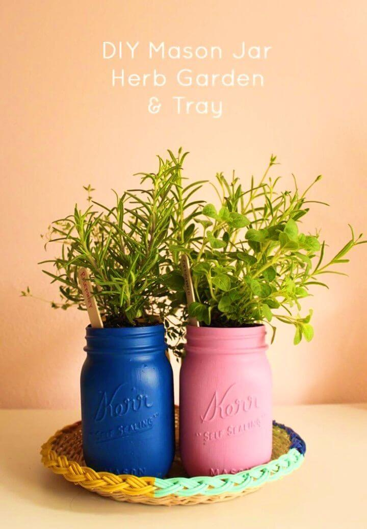 How to Make Painted Mason Jar Herb Garden