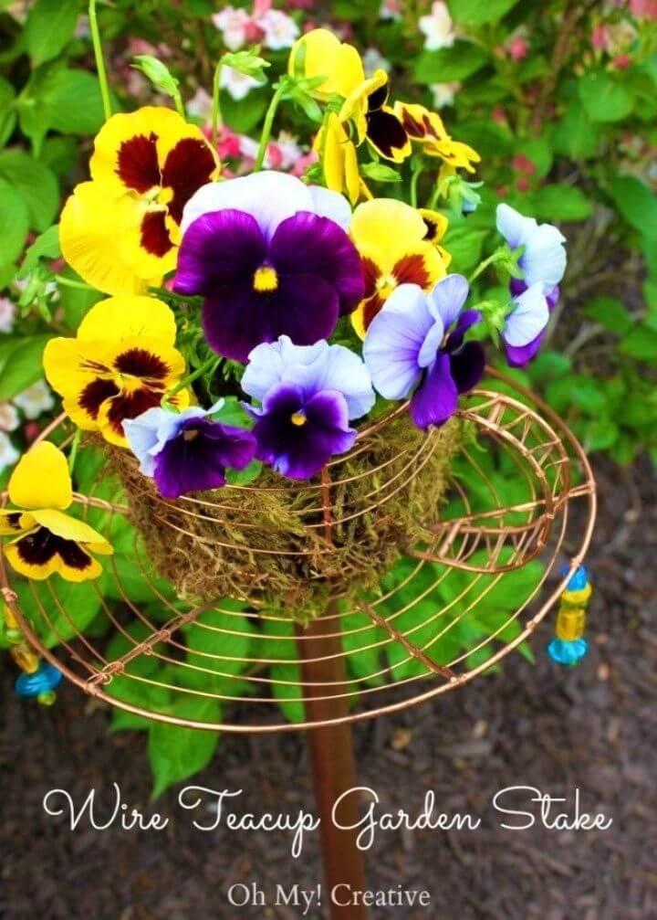 How to Make Teacup Garden Stake Garden Decor Idea
