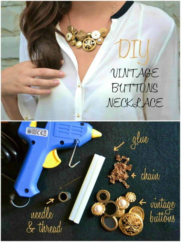How to Make Vintage Buttons Necklace