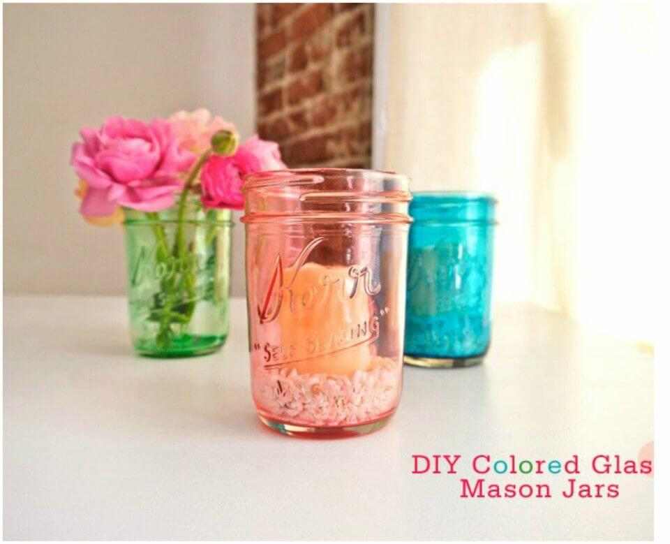How to Turn Old Mason Jars Into Colored Glass Candle Holders