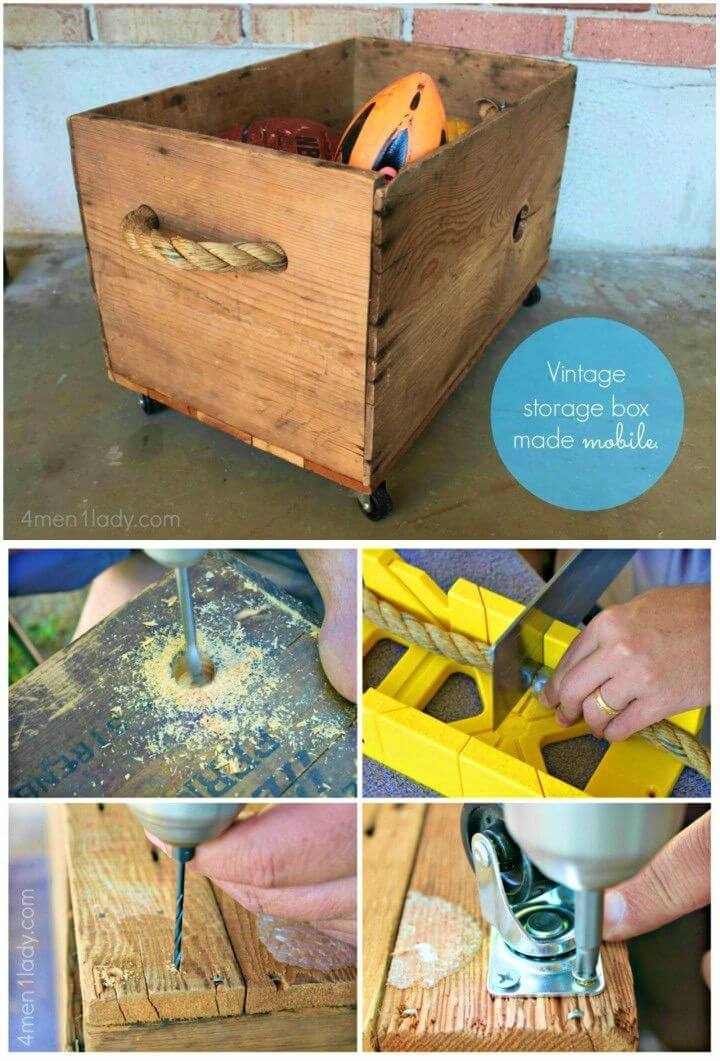 How to Turned Vintage Box Crate Into Toy Box