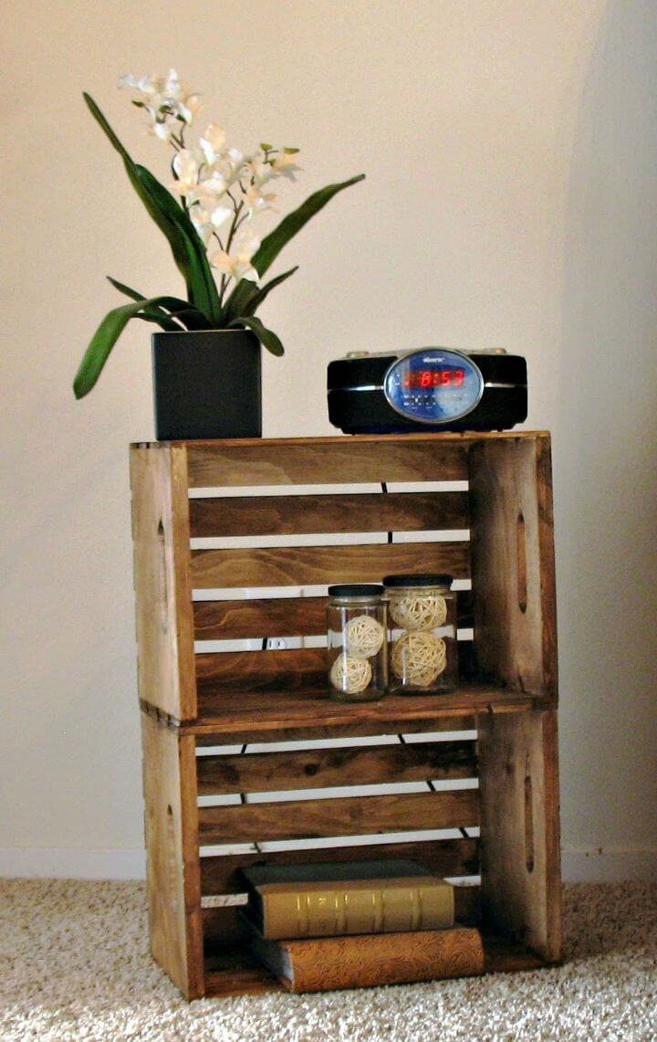 Inexpensive DIY Crate Night Stand