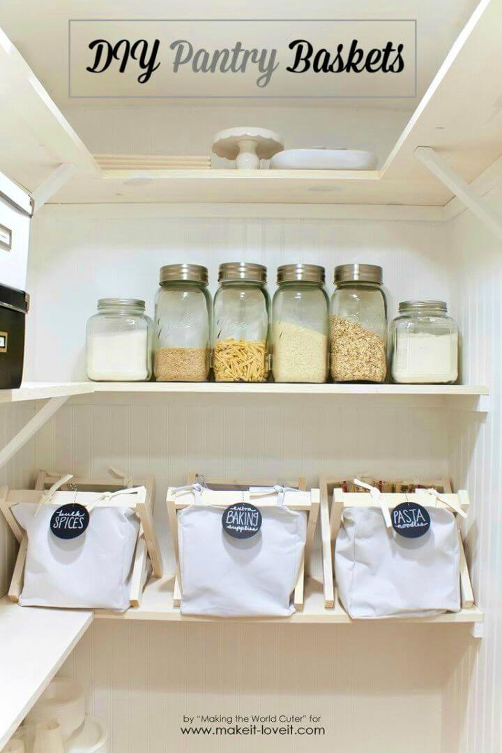 Inexpensive DIY Pantry Baskets With Wooden Frame