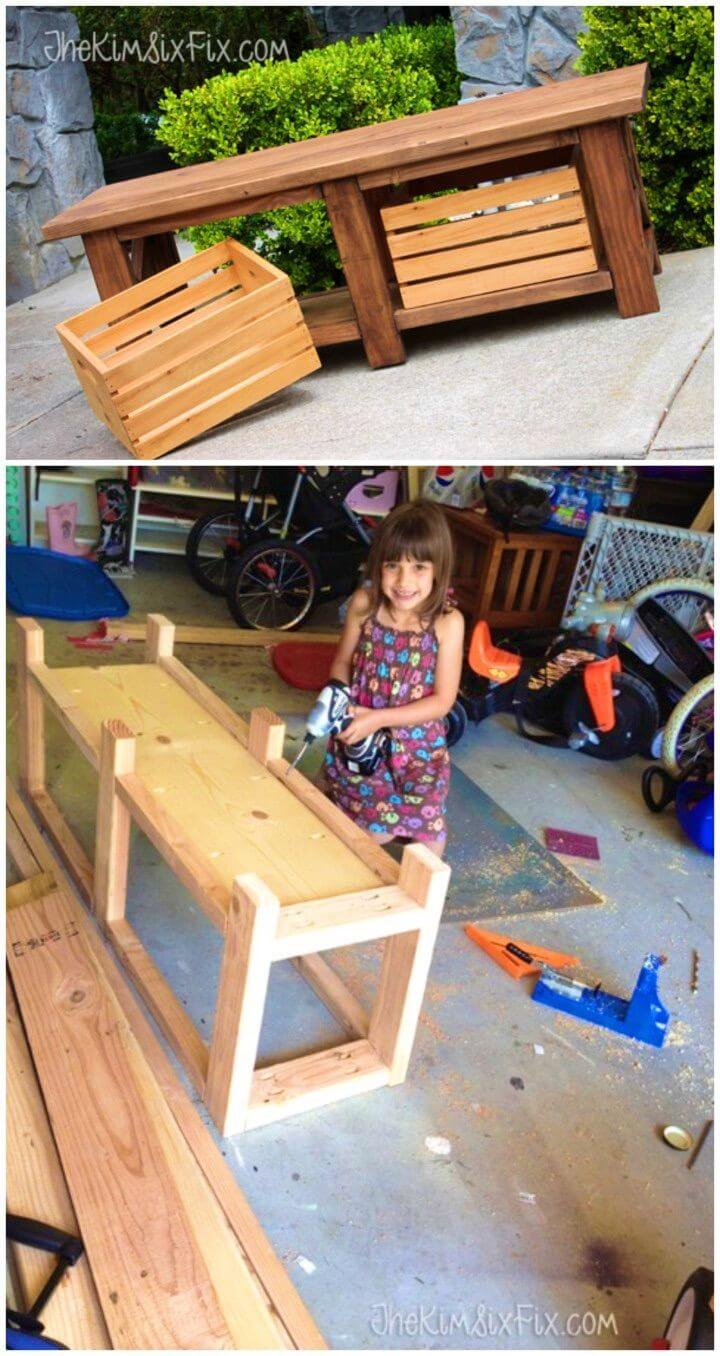 Make X Leg Wooden Bench with Crate Storage