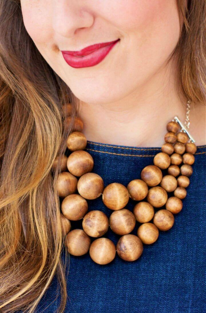 Make Chunky Wooden Bead Statement Necklace