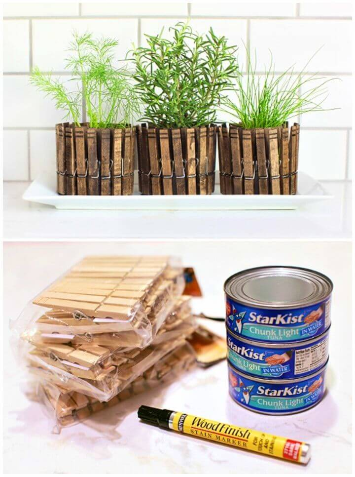 Make Clothespin Herb Planters