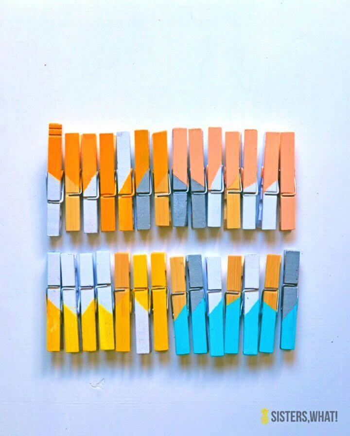 Make Color Block Clothespins Magnets, DIY, easy DIY, quick DIY, cheap DIY projects, DIY color blocks, color blocks, DIY color block clothespins, color block technique, DIY home decor, gift ideas, DIY clothespins magnets, DIY magnets.