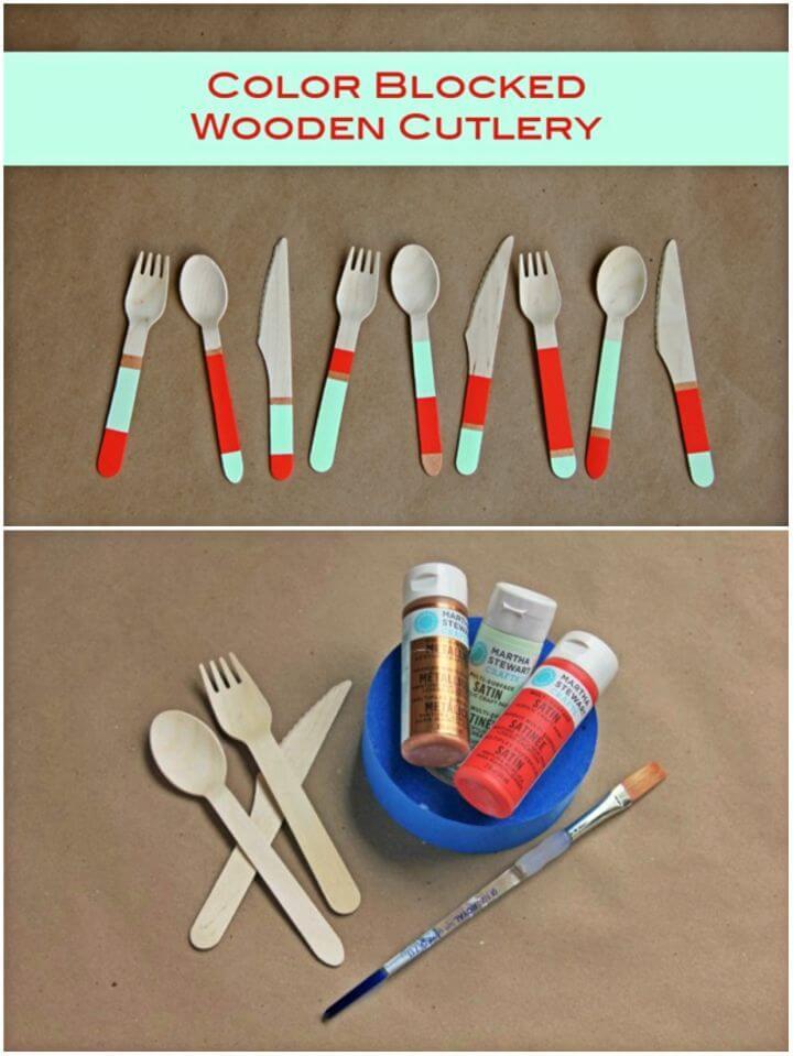 Make Color Blocked Wooden Cutlery, DIY, easy DIY, quick DIY, cheap DIY projects, DIY color blocks, color blocks, DIY color block art, color block technique, DIY wooden cutlery, DIY cutlery, DIY home decor.