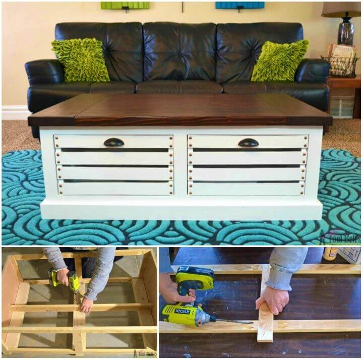Make Crate Storage Coffee Table and Stools