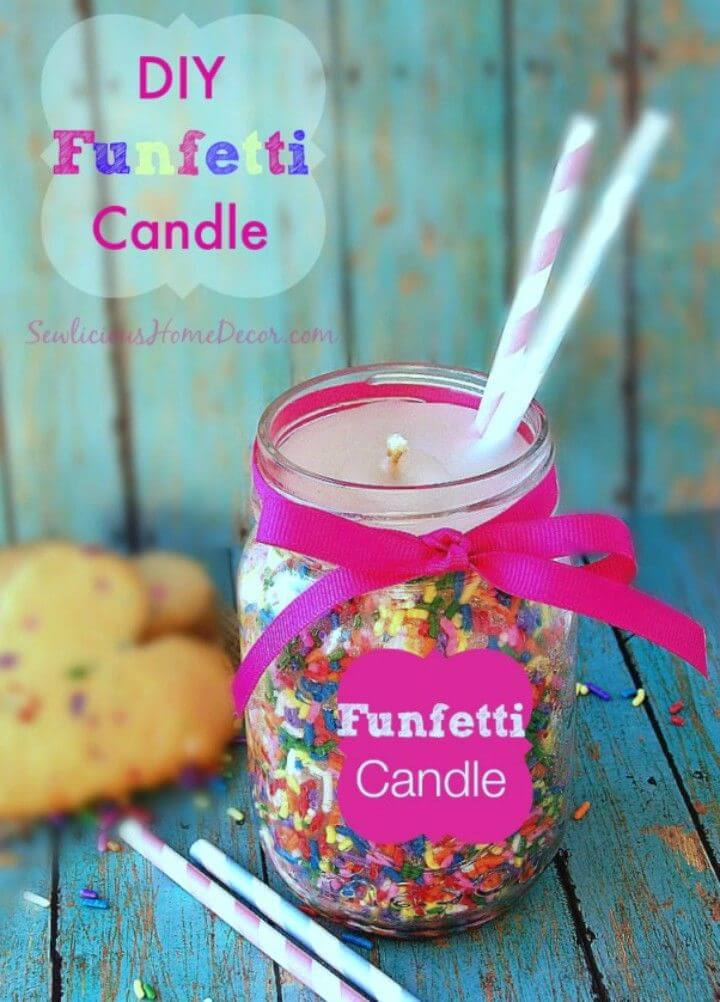 Make Funfetti Candles Made from Candy Sprinkles