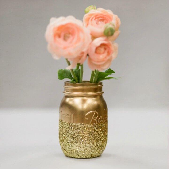 Make Glitter Mason Jar Centerpieces