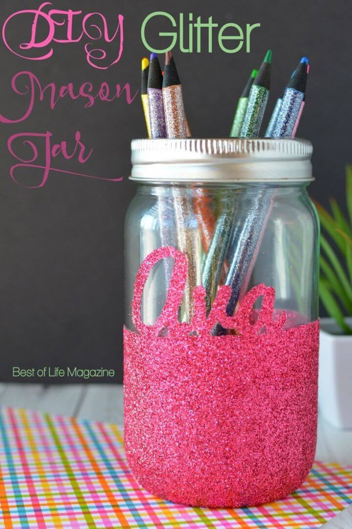 Make Glitter Mason Jar for Tealight Candles Pencils and More